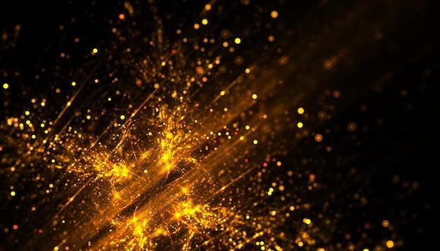 Golden particle dust sparkling background