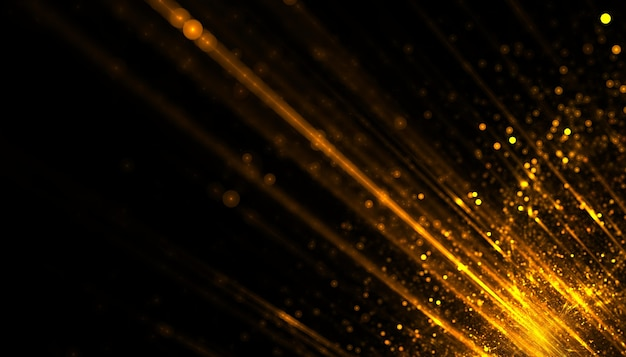 Sfondo di strisce luminose di particelle dorate