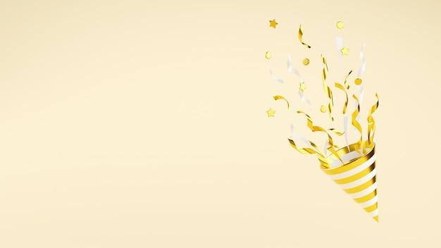 飛んでいる紙吹雪の3dレンダリングイラストとゴールデンパーティーポッパー。金の爆竹は蛇紋岩で爆発します-コーンポッパーとコピースペースを備えた誕生日と記念日のバナー。