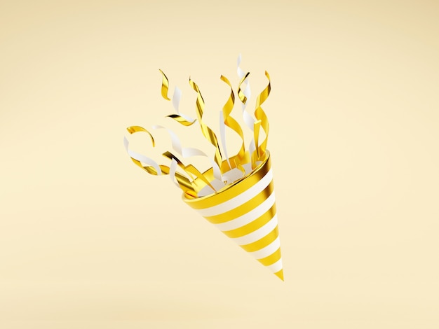 Golden party popper with flying confetti 3d render illustration. gold firecracker explodes with serpentine for surprise or winner concept - birthday and anniversary banner with cone popper.