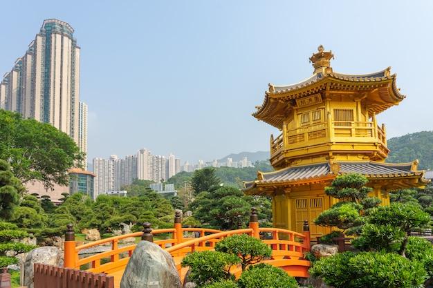 The golden pavilion and gold bridge in nan lian garden near chi lin nunnery.