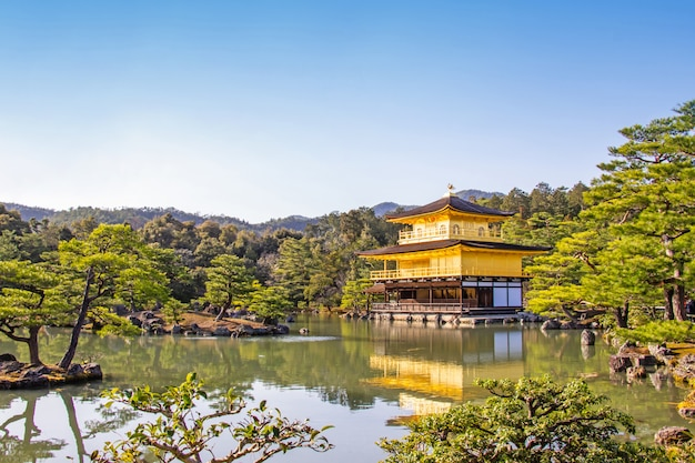 Golden pavilion of kinkaku-ji temple beautiful architecture