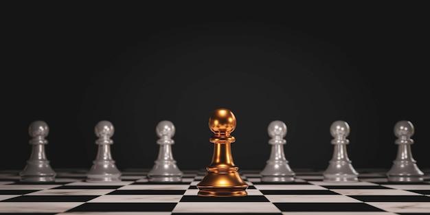 Шахматы с золотой пешкой вышли из строя и стали лидировать в шахматах черных и демонстрируют различные идеи мышления. изменение бизнес-технологий и разрушение для новой нормальной концепции. 3d визуализация