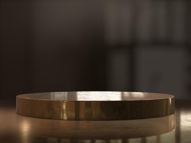 Golden pedestal background, platform for design,blank product stand.3d rendering.