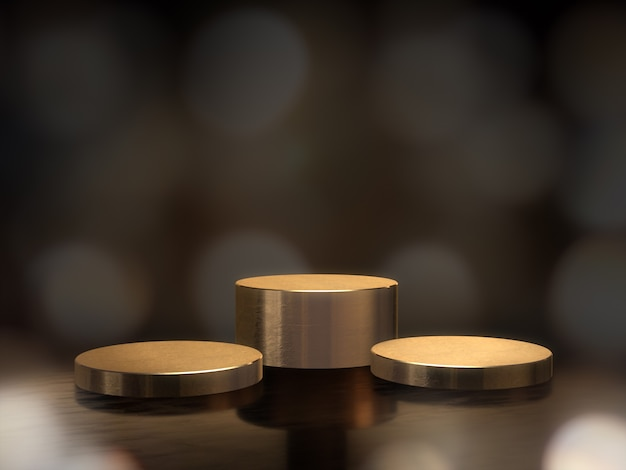 ディスプレイの黄金の台座、デザインのプラットフォーム、背景のボケ味を持つ空白の製品スタンド。 3dレンダリング。