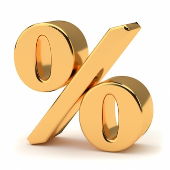 Golden percentage sign isolated