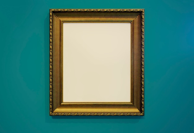 Golden picture frame and wall texture photo