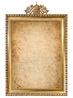 Golden picture frame with empty grunge canvas isolated. vintage style object