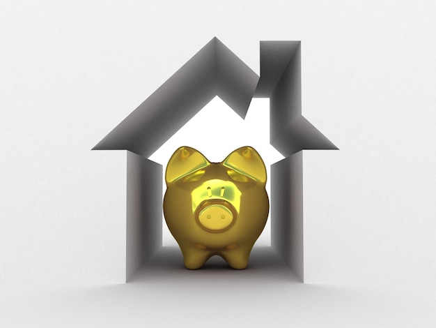 Golden piggy bank in house abstract. 3d illustration