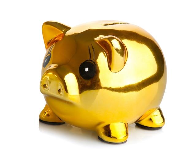 황금 돼지 저금통 흰색 배경에 고립