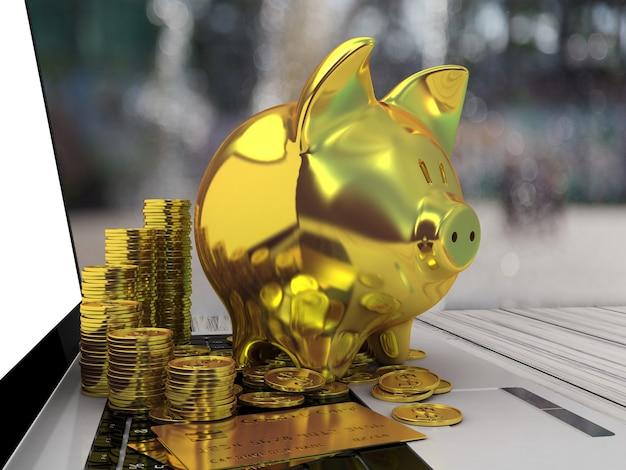 Golden piggy bank and laptop. 3d illustration