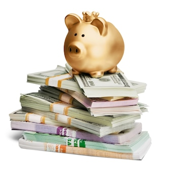 Golden piggy bank and  money on background