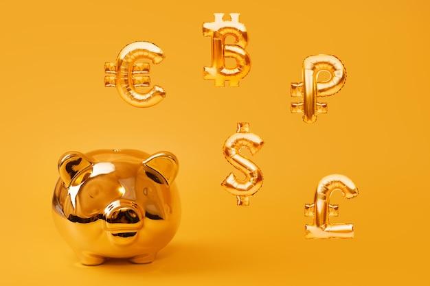 Золотая копилка на желтом фоне с золотыми символами валюты из надувных воздушных шаров из фольги. инвестиционная и банковская концепция. экономия денег, копилка, финансы, инвестиции.