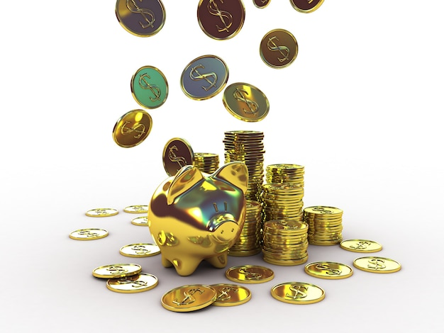 Golden piggy bank with golden money. 3d illustration