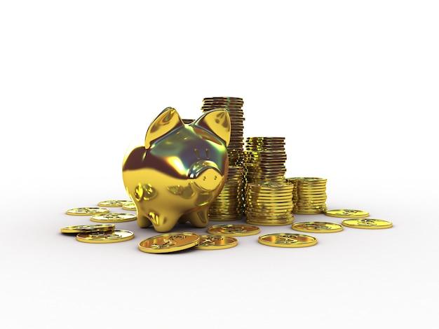 Золотая копилка с золотыми деньгами. 3d иллюстрации