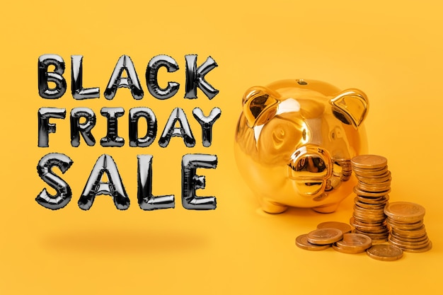 Golden piggy bank with money towers on yellow background with text black friday sale