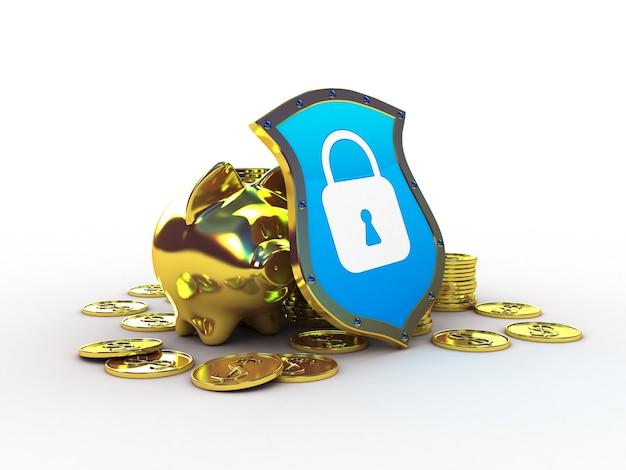 Golden piggy bank with shield, 3d illustration