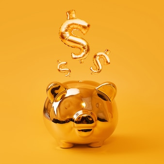 Golden piggy bank on yellow background with gold usd sign balloons. golden currency symbol made of inflatable foil balloon. investment and banking concept.money saving, moneybox, finance, investments.