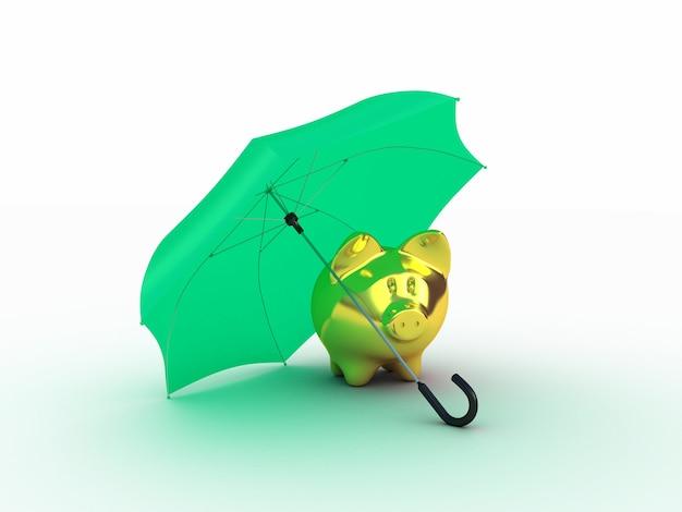 Golden piggy under umbrella. 3d illustration