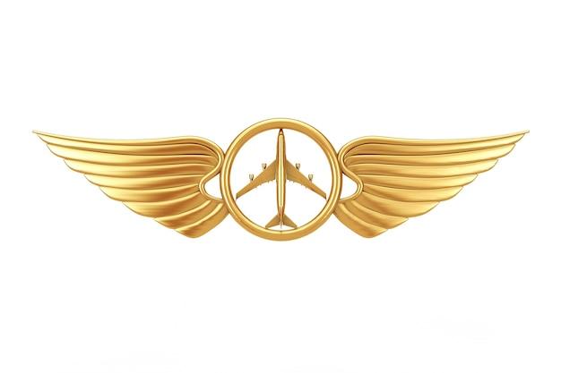 Golden pilot wing emblem, badge or logo symbol on a white background. 3d rendering