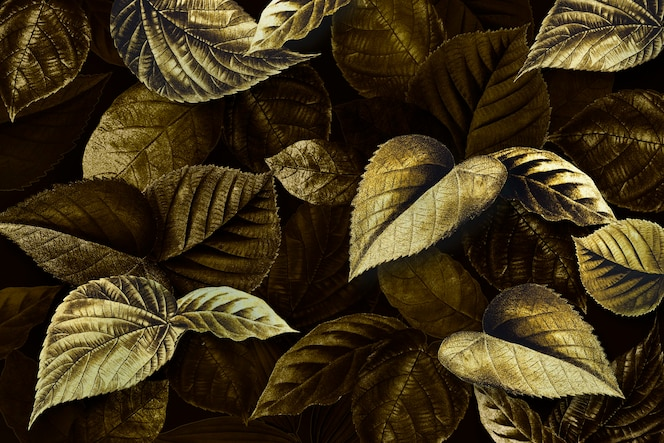 Golden plant leaves textured background