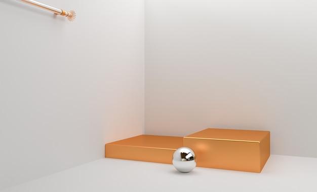 Золотая площадка для демонстрации товара, 3d render premium photo