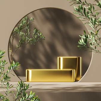 Golden platform on mockup scene, blur plants foreground and plants shade background, abstract background for product presentation or ads. 3d rendering