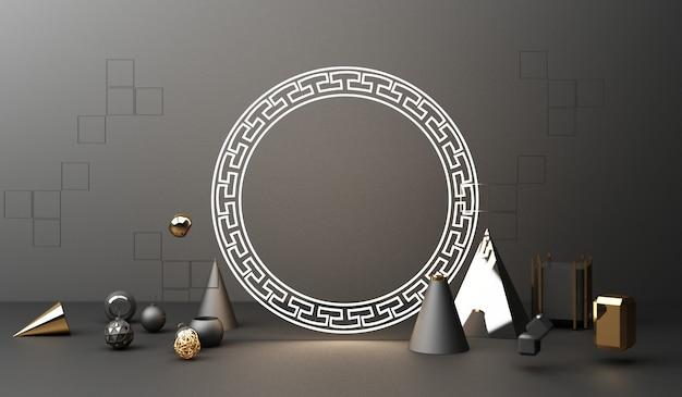 Golden podium display on black abstract background with geometric shape product minimal china presentation