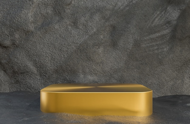 석조 벽 배경 럭셔리 스타일, 3d 모델 및 일러스트레이션에 대한 제품 프레젠테이션을 위한 황금 연단입니다.
