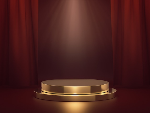 Золотой подиум для демонстрации продуктов со световым пятном на красной сцене. 3d-рендеринг.