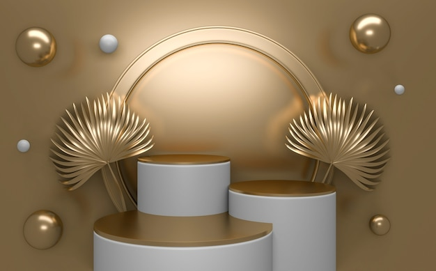 Golden podium minimal geometric white and gold style abstract.3d rendering