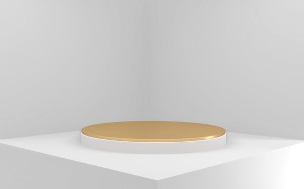 최소한의 기하학적 흰색 배경에 황금 연단입니다. 3d 렌더링