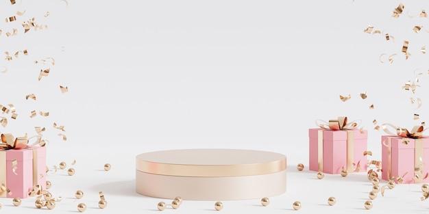 製品またはギフトボックスと紙吹雪を使用した広告用の金色の表彰台または台座、3dレンダリング