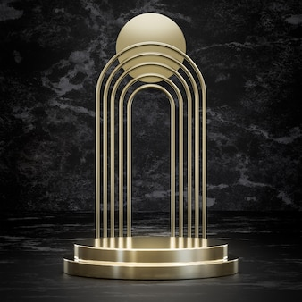 Golden podium stage stand on black marble for product placement 3d render