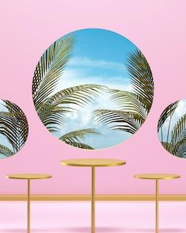 열 대 야자수 분홍색 배경 3d 렌더링 황금 연단 무대