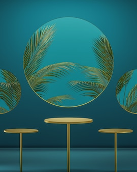 Golden podium stand on a luxurious green background with large tropical trees 3d render for product placement
