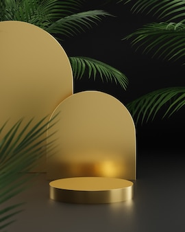 큰 열대 나무와 검은 배경에 황금 연단 스탠드 제품 배치를 위해 3d 렌더링