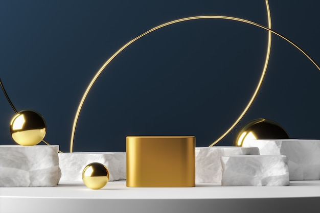 Golden podium on white platform gold balls and ring, abstract background for presentation or advertising. 3d rendering