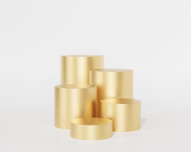 흰색 배경에 제품 또는 광고를 위한 황금 연단 또는 받침대, 3d 렌더링