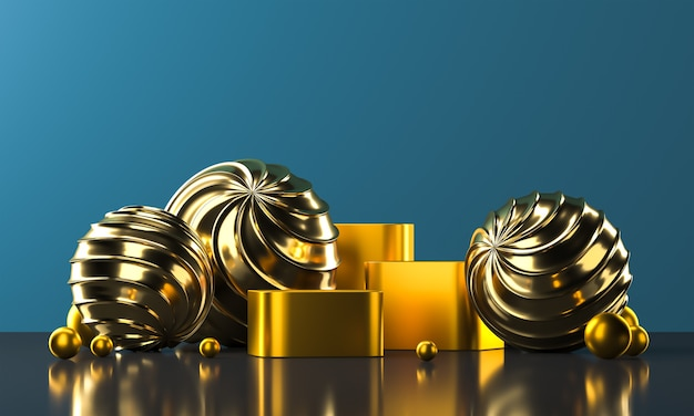 Golden podiums and shiny balls reflection platform, abstract background for presentation or advertising. 3d rendering