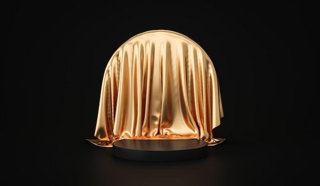 Золотая подставка для фона продукта или пьедестал подиума на роскошном рекламном дисплее с пустыми фонами. 3d-рендеринг.