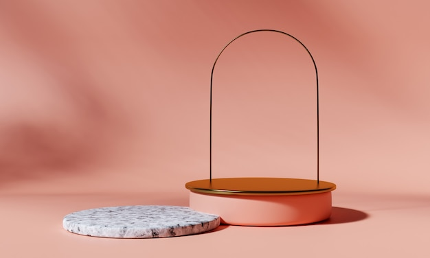 Golden product podium with arch and marble podium on pink background. 3d rendering.