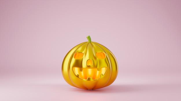 幸せなハロウィーンの日のコンセプト3dレンダリングイラストの黄金のカボチャ