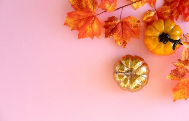 ピンクの背景に葉メープルと黄金のカボチャ。平干し。