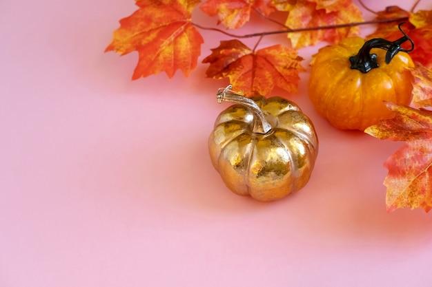 ピンクの背景に葉メープルと黄金のカボチャ。