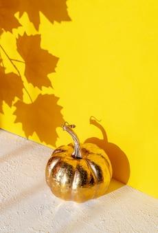 カエデの葉からの影と黄金のカボチャ