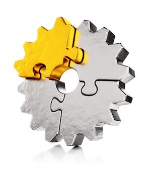 Golden puzzle gear