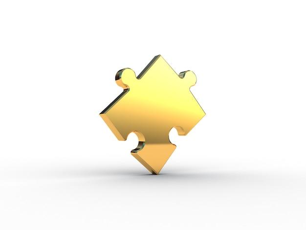 Золотая головоломка на белом. 3d иллюстрации