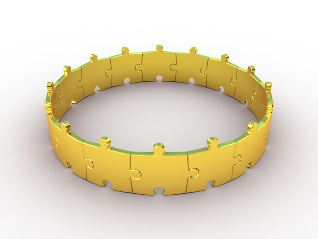 Golden puzzle on white. 3d illustration