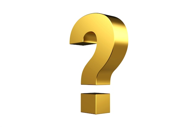Golden question mark sign on white background  3d illustration 3d rendering